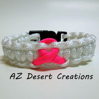 Breast Cancer Awareness Survival Bracelet in White with Pink Ribbon