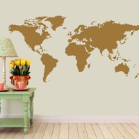 "Detailed World Map- Wall Decal (Gold - Metallic, Measures: 22"" (H) x 45"" (W))"