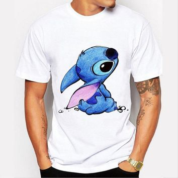 New 2016 Cute Kawaii T shirt Summer Style Lilo & Stitch Print T-shirt Men Camisas Hombre Harajuku O-neck Tee Shirt