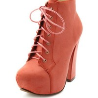 Lace-Up Chunky Heel Bootie: Charlotte Russe