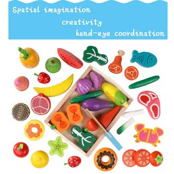 Baby Wooden Kitchen Toys Cutting Fruit Vegetables food education toys for kids girl for Preschool Children gifts