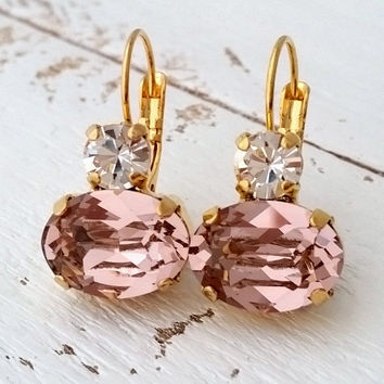 Blush crystal drop earrings, Blush pink Swarovski earrings, Dangle earrings, Bridal earrings, Blush Bridesmaids gifts,Gold earrings,Weddings