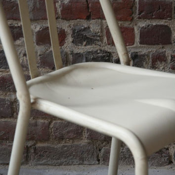 Retro metal chair - model VIEUX LILLE - Vintage White distressed look