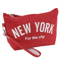 Red New York Denim Makeup Pouch Bag Accessory