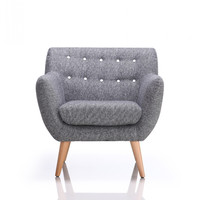 Divani Casa Albany Modern Grey & White Fabric Accent Chair