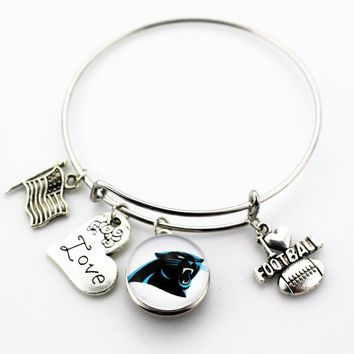 Adjustable I Love Football Expandable Bangle Bracelets Carolina Panthers Ginger Snap Button Jewelry