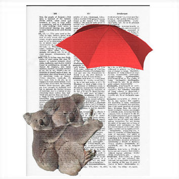 Vintage Dictionary Paper Koalas Dictionary Art Print