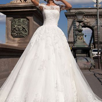 Vestidos De Noiva Bridal Gown Rustic Lace Vintage Wedding Dresses Turkey Sexy Ball Gown Short Sleeves Women Wedding Gown 2017