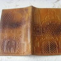 Latvian Vintage Handmade Leather Wallet With A View Of Old Riga Made in USSR in 1980s.