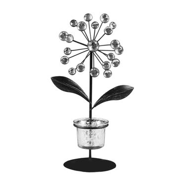 New Tealight Holder Iron and Glass Plant Shape with Acrylic Beads Flower Candle Holder Candlestick Home Hotel Bar Decoration