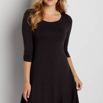 3/4 sleeve t-shirt dress with peek-a-boo back in black   maurices