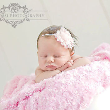 Pink Baby Headband.Vintage Headband.Baby Headband.Wedding Headband.Infant Headbands.Newborn Headband.Photo Prop.Flower Girl.Baby Girl Bow