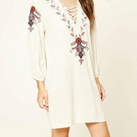 White Flowers Embroidery Lace-up Deep V-neck Long Sleeve Mexican Mini Dress
