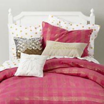 The Land of Nod | Girls Bedding: Pink and Gold Shimmer Bedding in Girl Bedding