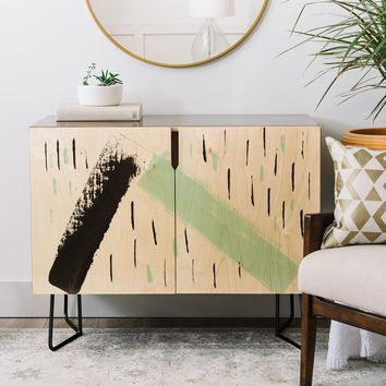 Viviana Gonzalez Minimal black and mint II Credenza | Deny Designs