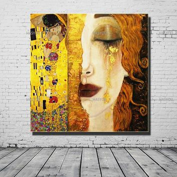 High Quality Modern Oil Painting Canvas Art Abstract Gustav Klimt Kiss Golden Tears Wall Pictures For Living Room Home Decor