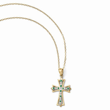 925 Gold Flashed Silver Fleury Cross Emerald & Diamond Pendant Necklace - 19x35mm: Size: 18