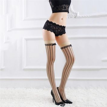 2017 Fashion Women Sexy Stockings Nylon Panthose Tights Line Bowknot Print Retro Cubun Punk Gothic Striped Seam Sheer Thigh High