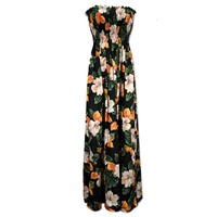 hoopla black hawaiian maxi dress