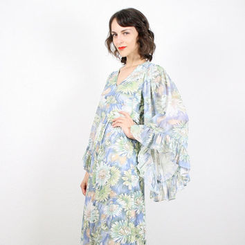 Vintage Hippie Dress Maxi Dress Angel Sleeve Dress Kimono Sleeve Dress Blue Green Watercolor Print Daisy Dress Floral Print S Small M Medium
