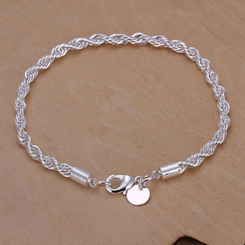 Hot selling Elegant Silver Plated Twisted Rope Design Slim Bracelet Chain for Office Lady 5UFW 6SYZ