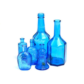Blue Wheaton Glass Bitters Bottles Instant Collection - Liberty Bell, Horse Shoe, Benjamin Franklin, Lancaster's - Vintage Retro Home Decor
