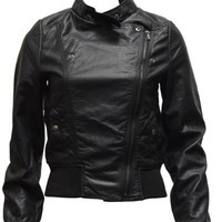 Clothes Effect Ladies Black Synthetic Leather Biker Jacket Angled Zipper