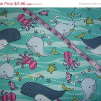 Childrens Flannel fabric with whales sea animals turtles octopus cotton quilt quilting sewing material to sew by the yard crafting project