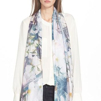 Women's Ted Baker London 'Safiy' Floral Print Scarf - Blue