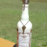 Altered Bottle Soap Dispenser Shabby French Chic Ivory Brown