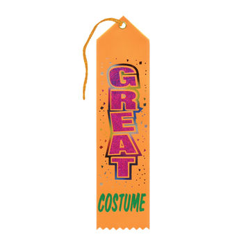 "Beistle Halloween Celebration Birthday Party Great Costume Award Ribbon 2"""" x 8"""" Pack of 6"