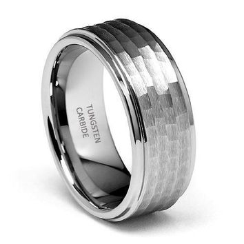 9mm Hammered Tungsten Wedding Band (Platinum)