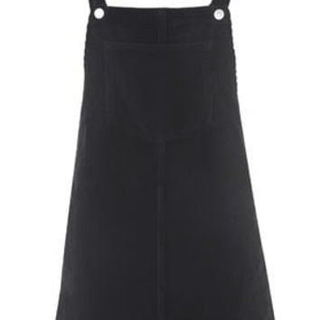MOTO Cord Pinafore Dress - Black