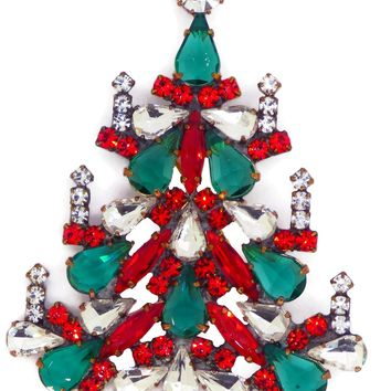 Czech Glass Christmas Tree Brooch with Candles, Vintage Rhinestones Xmas Tree Pin