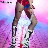 Takerlama Cartoon Suicide Squad Harley Quinn Joker Cosplay Silk Stockings Accessories On Sale