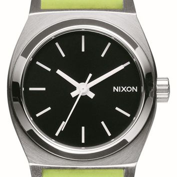 Women's Nixon 'Small Time Teller' Leather Strap Watch, 26mm - Neon Yellow/ Navy/ Silver