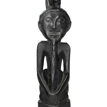 Primitive Style Wood Statue Hand Carved Sumba Squatting Male Animal Ebony Color