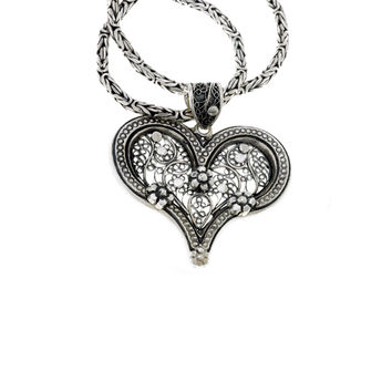 Floral Filigree Sterling Silver Heart Necklace