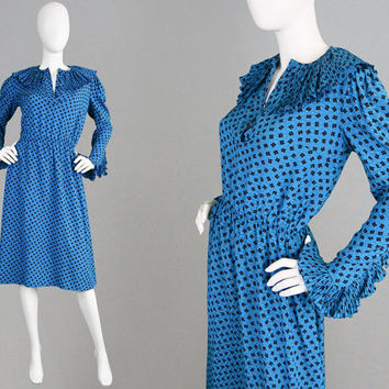 Vintage HARDY AMIES COUTURE 80s Blue Silk Dress Fan Pleat Collar Blousy Fit Dress Ruffle Collar Designer Dress Silk Tea Dress Frilly Dress