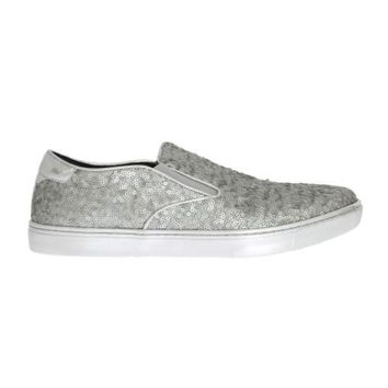Dolce & Gabbana Silver Lamb Leather Sequined Sneakers
