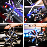 High Grade Snowflake Crystal Car Pendant Car Rearview Mirror Ornament Luxury Hanging Decoration Car Interior Accessories