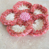 Pink White Flower Pin Brooch Handmade Crochet Pin Boho Retro Romantic