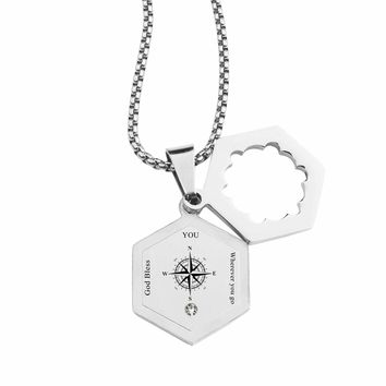 Life Compass Double Hexagram Necklace with Cubic Zirconia by Pink Box - WHEREVER YOU GO