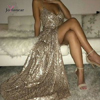 winter christmas party sexy sequin maxi long dress Sleeveless strap v neck package hip cross back  dresses club  vestidos