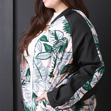 Tropical Print Zip Up Bomber Jacket