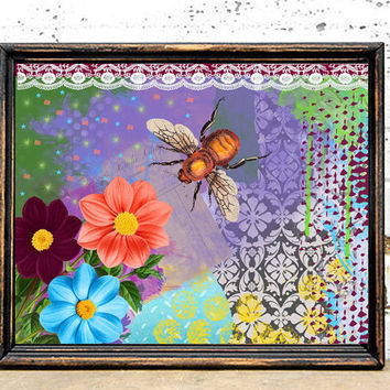 Bee Art Print - 8x10 Vintage Bee Painting - Mixed Media Collage - Wall Art -Coloful Art
