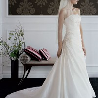 Taffeta draped A-line gown - David's Bridal - mobile