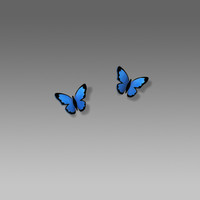 Sienna Sky Earrings - Small Folded Blue Morpho Butterfly on Hypoallergenic Posts