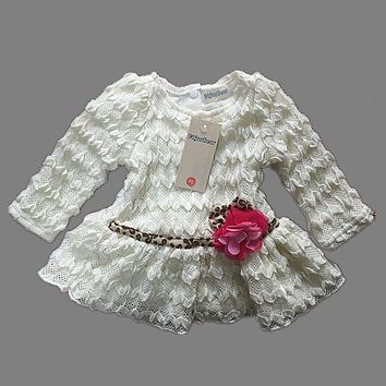 ViGarBear 2017 Fashion Newborn dress female baby white Shard flower dress for girls 0-1 years autumn baby girls clothing dress