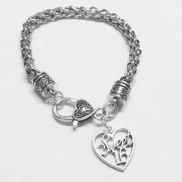 Sweet 16 Sixteen Birthday Valentine Gift Daughter Charm Bracelet